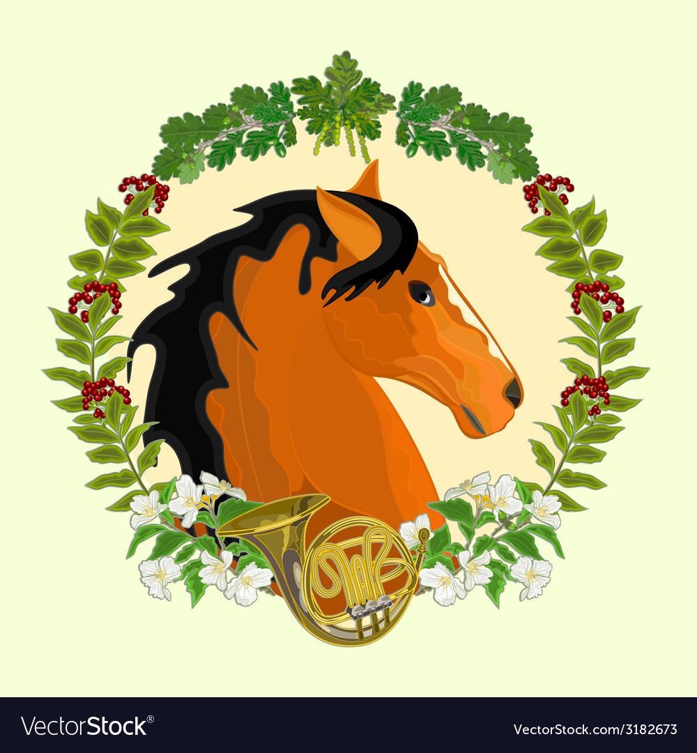Dark red horse head of stallion leaves vector