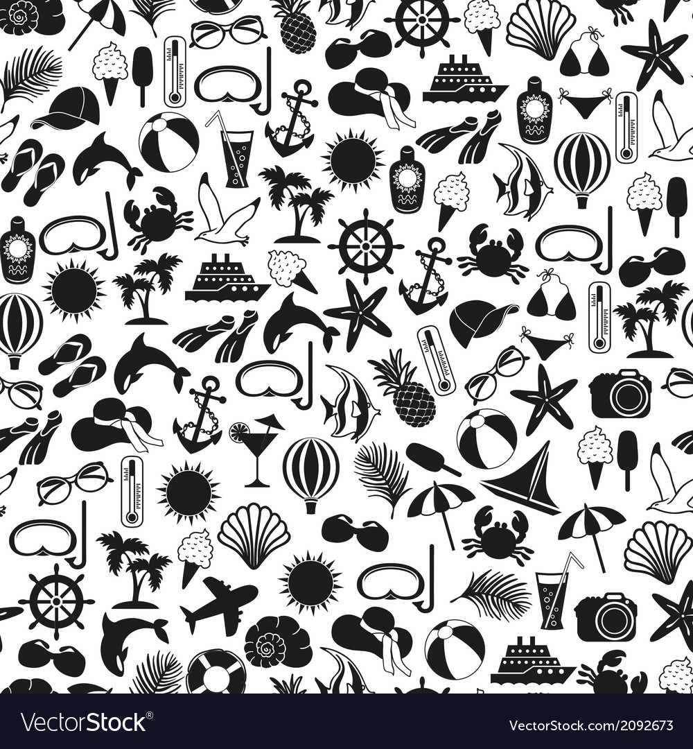Seamless pattern summer icons vector