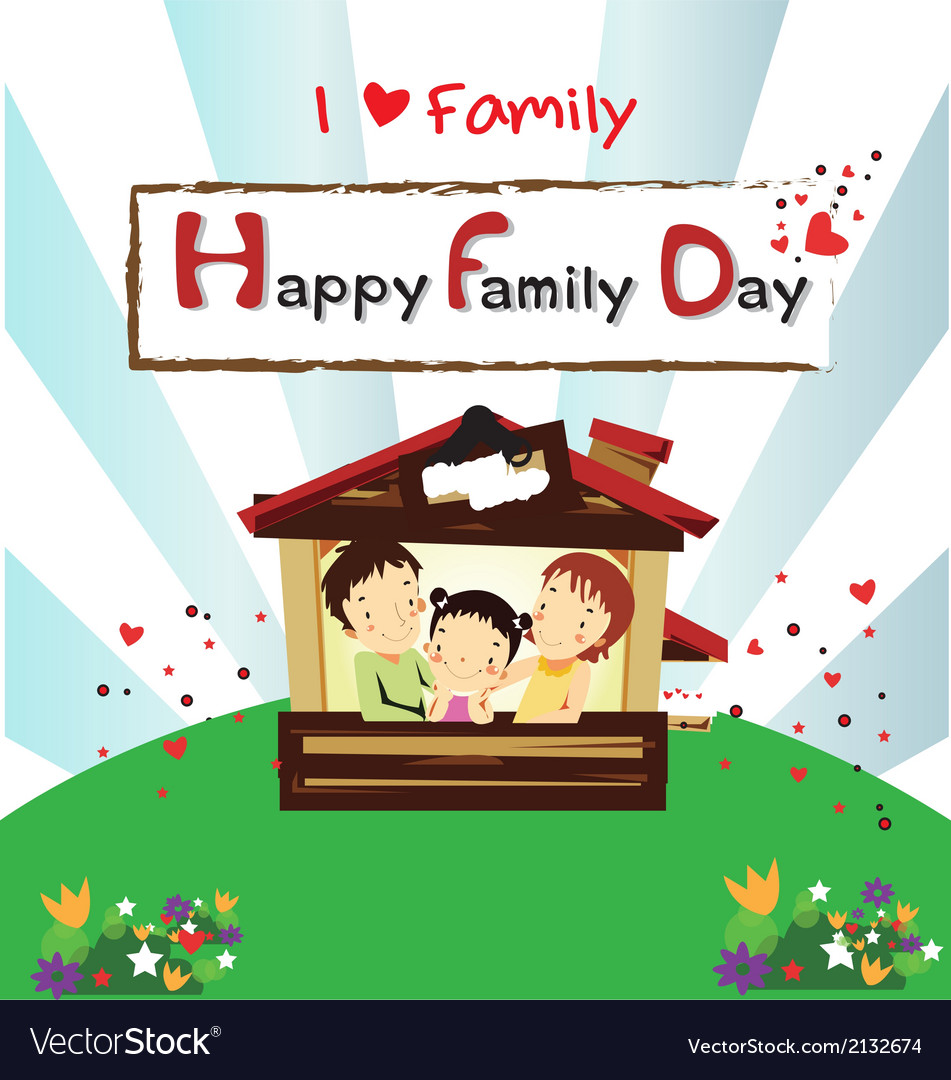 Family day card-happy family happy vector