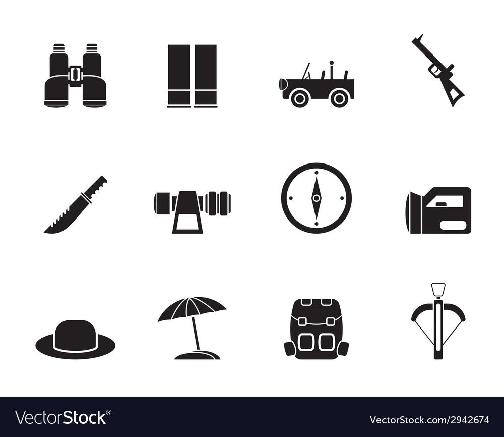 Silhouette safari and holiday icons vector