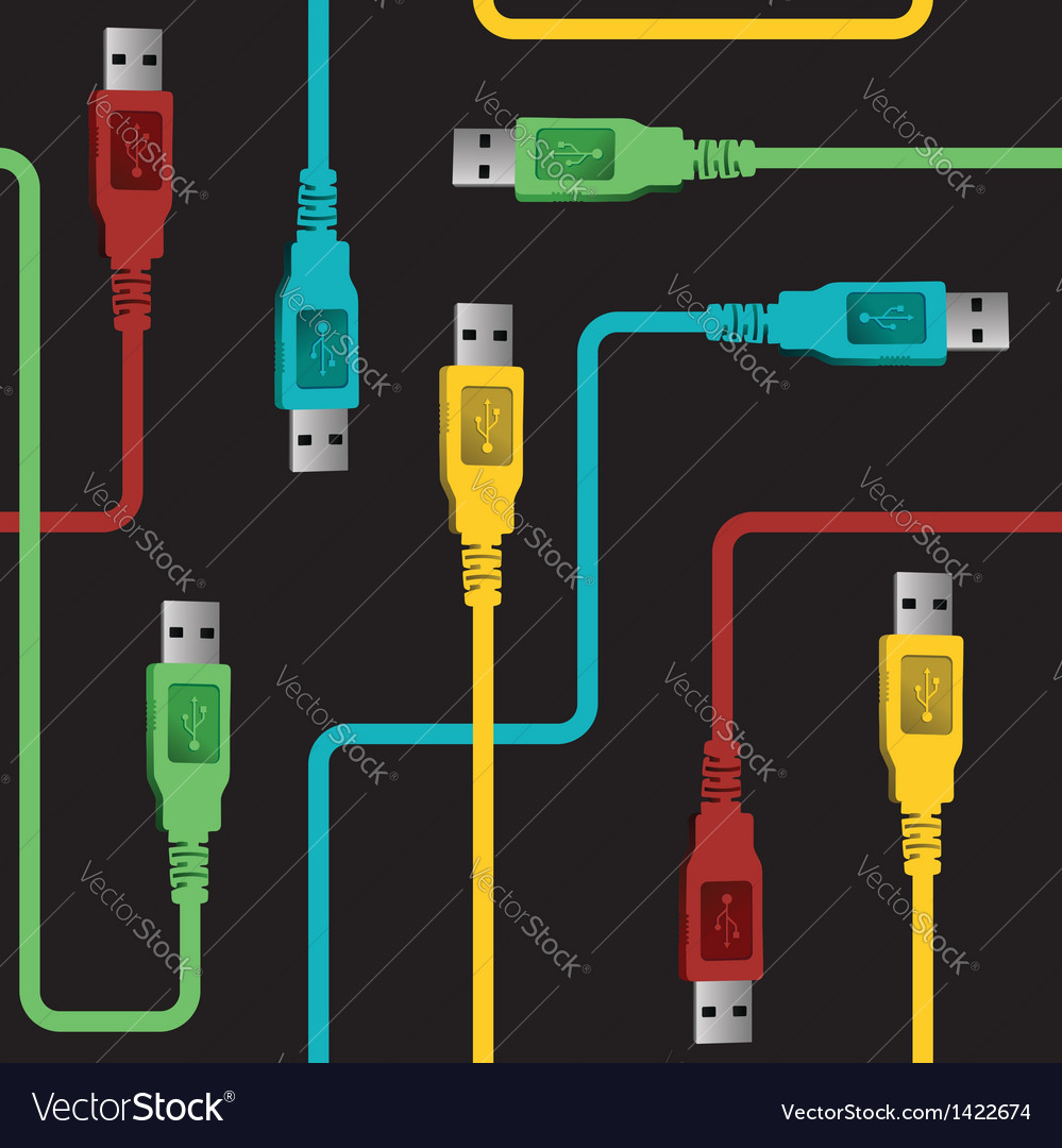 Usb wire communication pattern vector