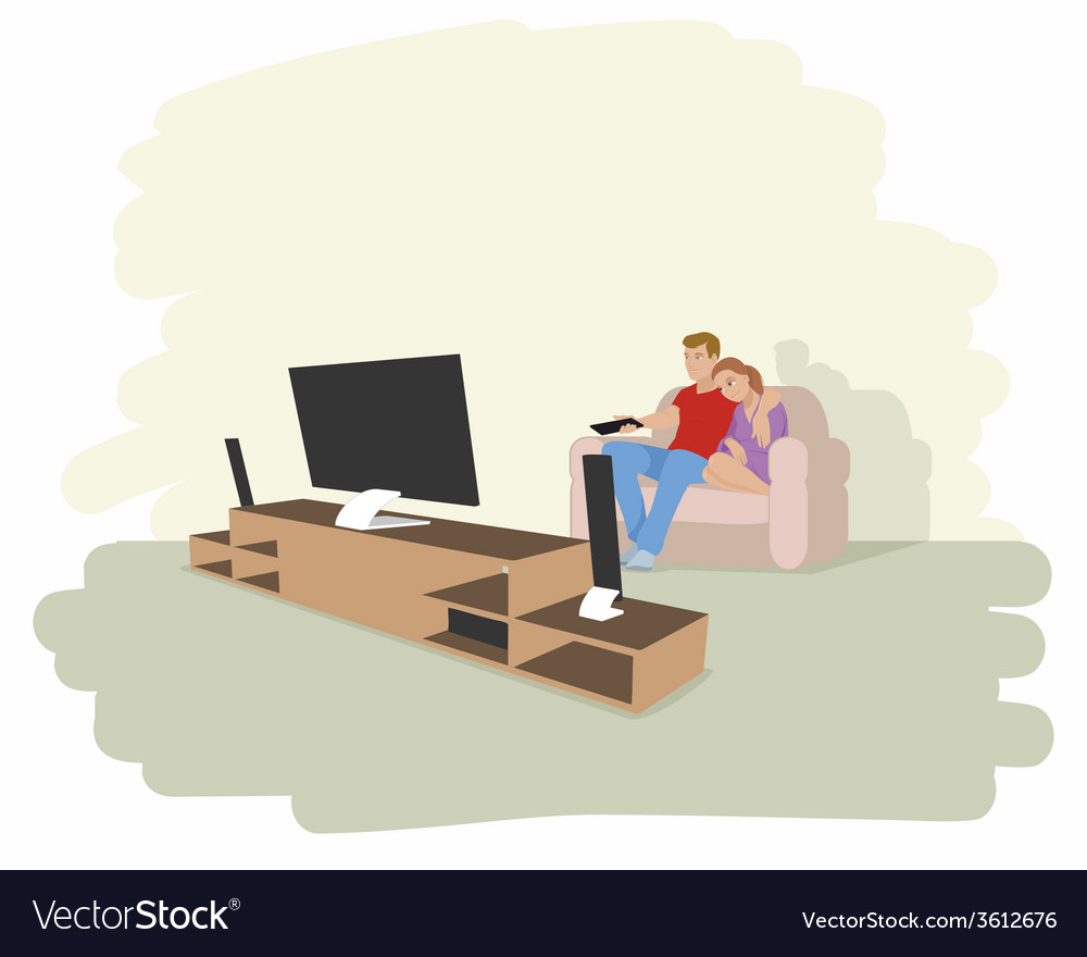 A couple watching tv vector