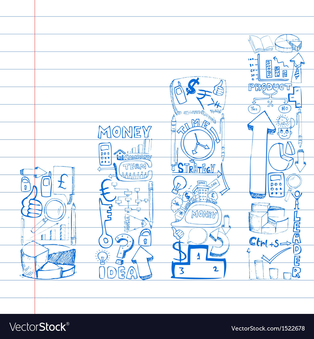 Business doodle bar graph vector