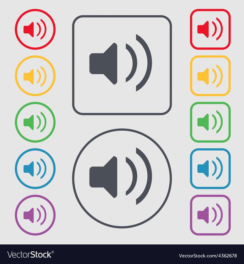 Speaker volume sound icon sign symbol on the round vector