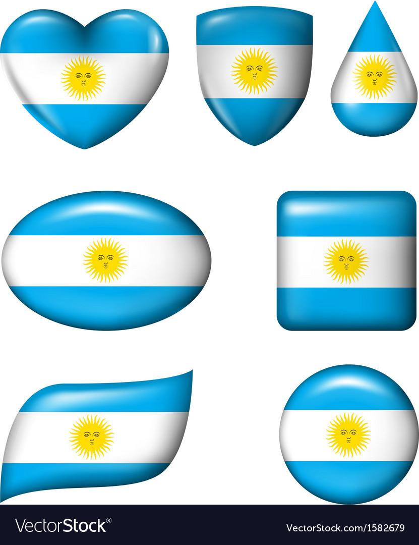 Argentina flag in various shape glossy button vector