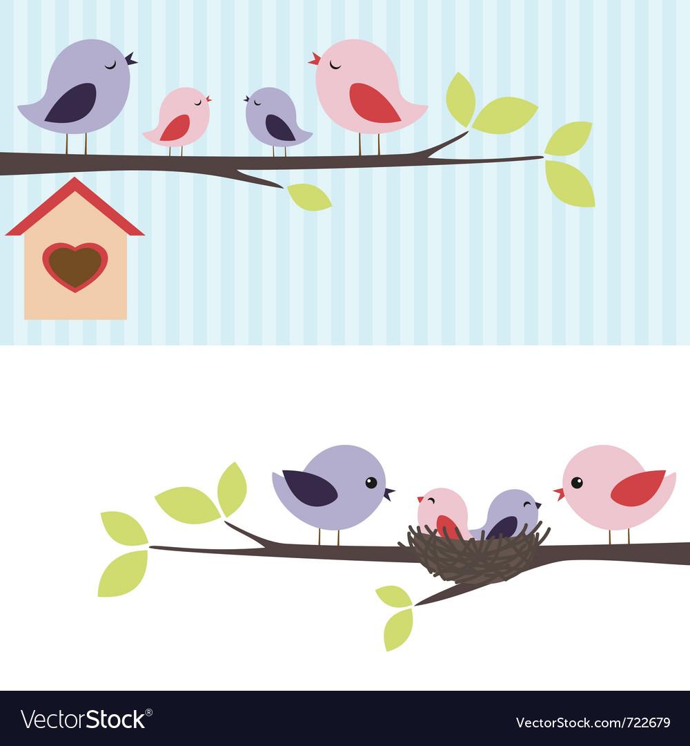 Family of birds vector
