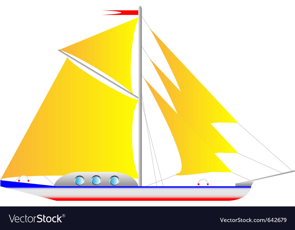 Yacht on white vector