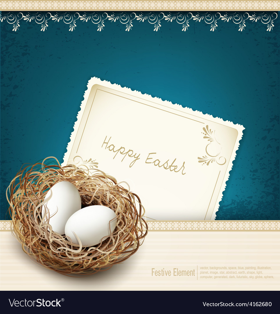 Easter vintage background with a nest and eggss vector