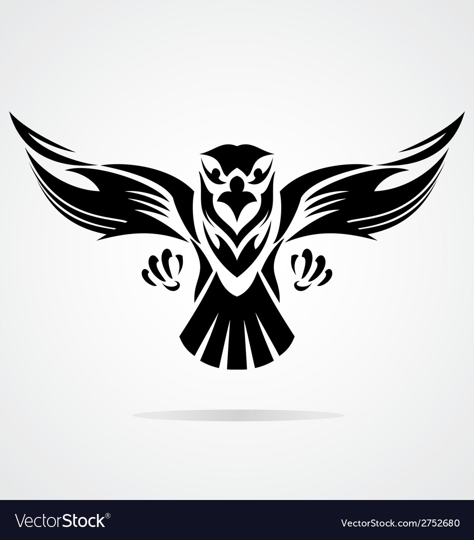 Hawk bird tribal vector