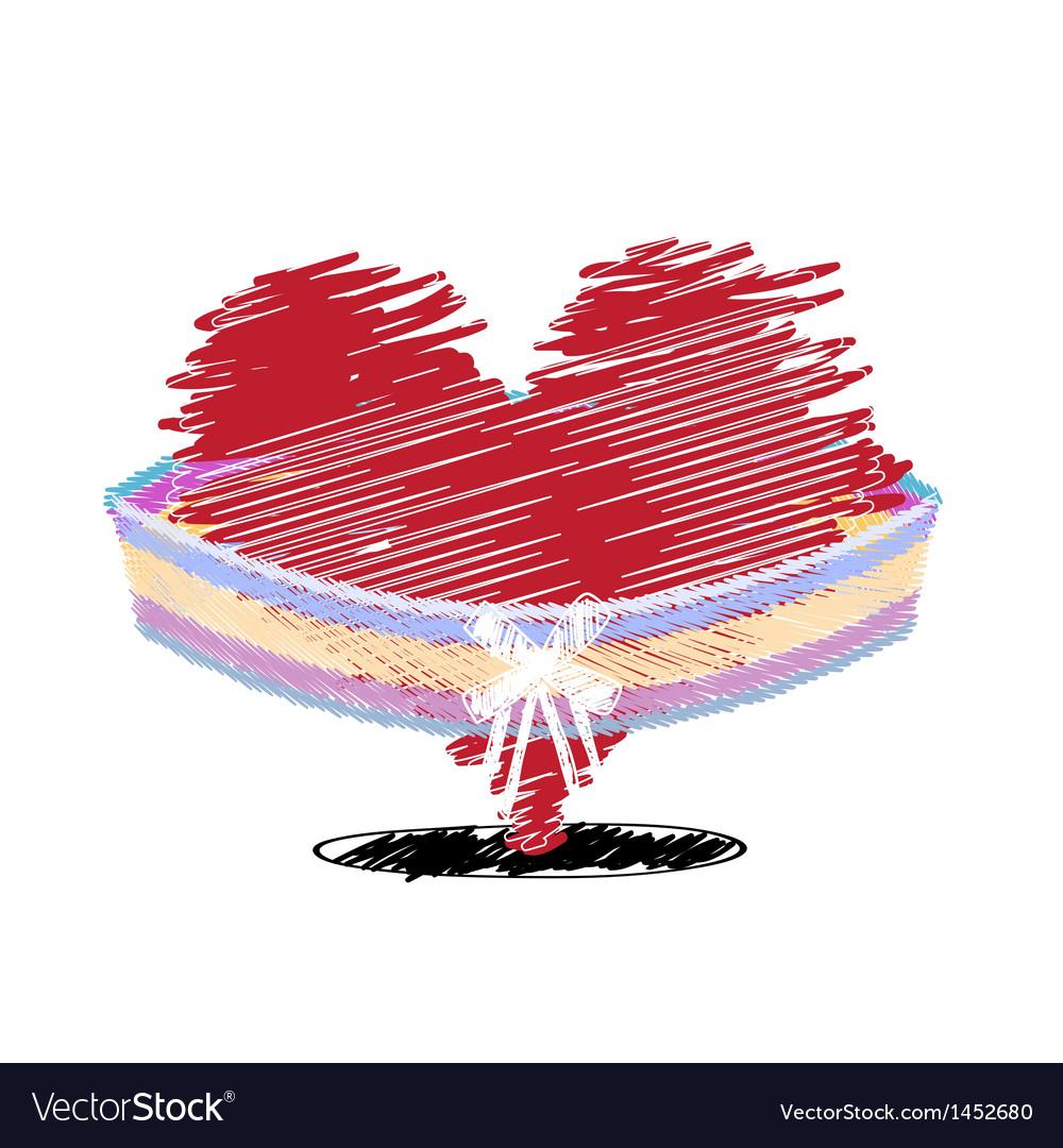 Sketch drawing heart celebration design vector
