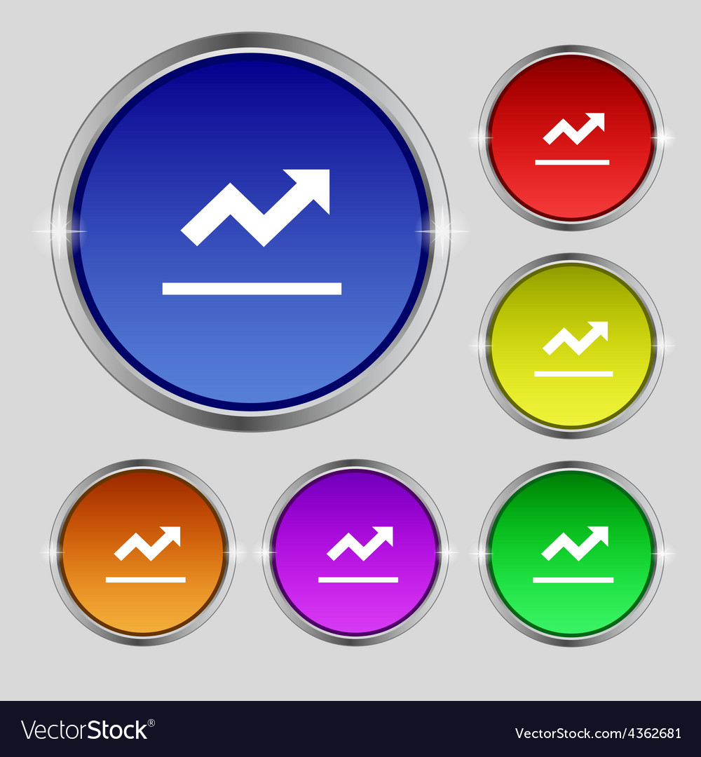 Graph chart diagram icon sign round symbol on vector