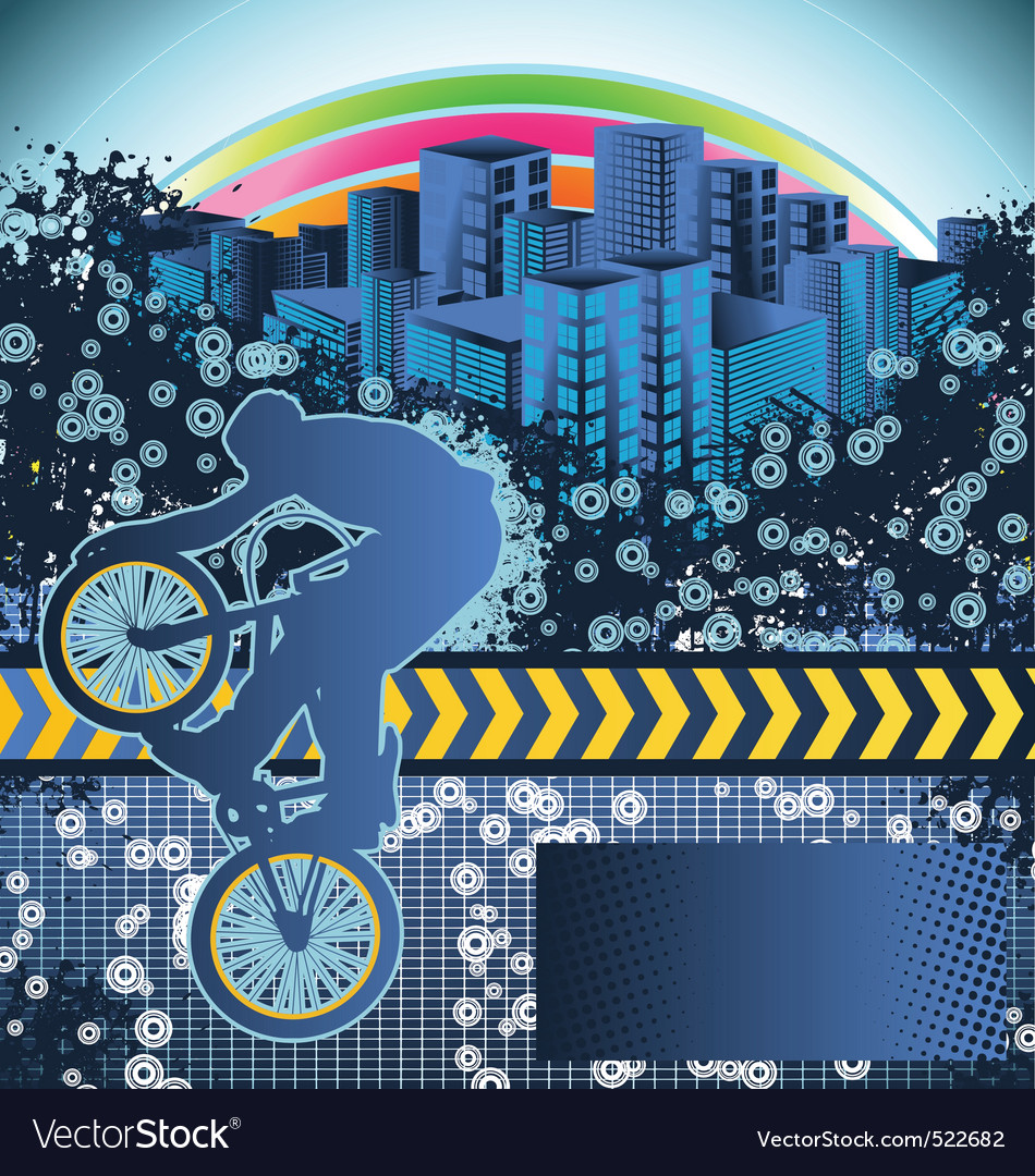 Abstract grunge background with bmx cyclist vector