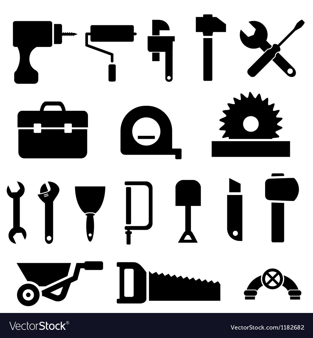 Silhouette of tools vector