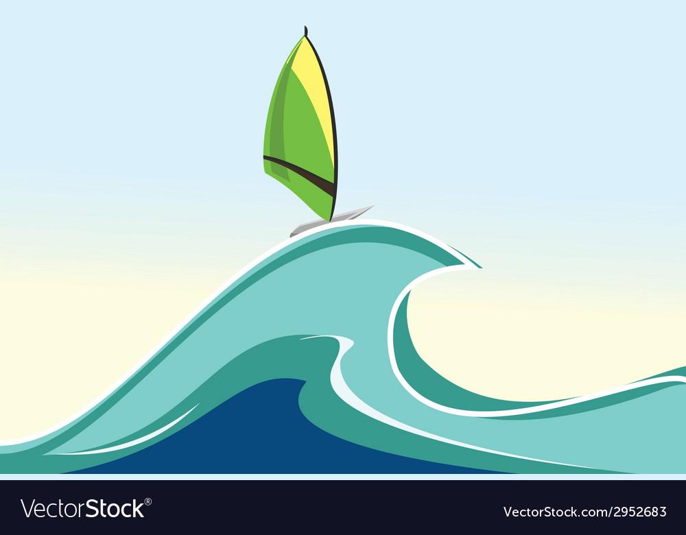 Sea windsurfing vector
