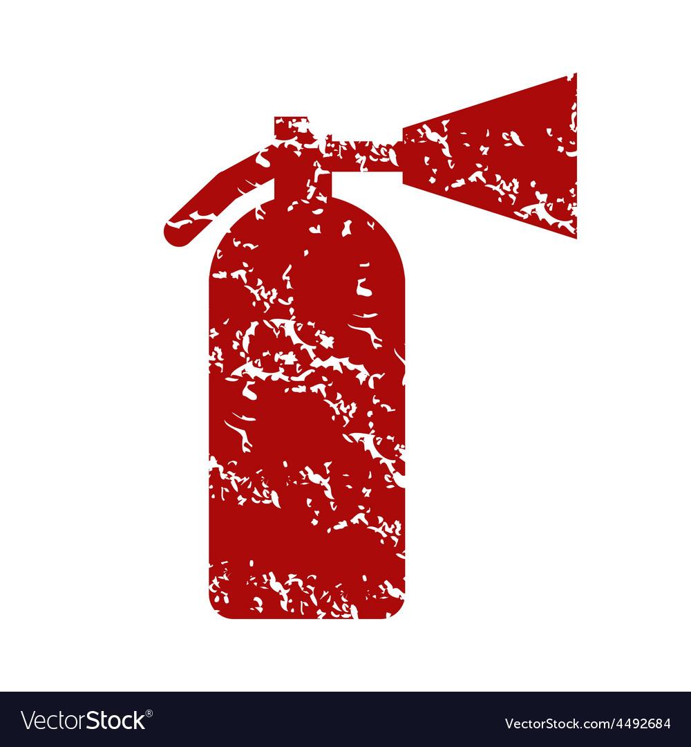 Red grunge fire extinguisher logo vector