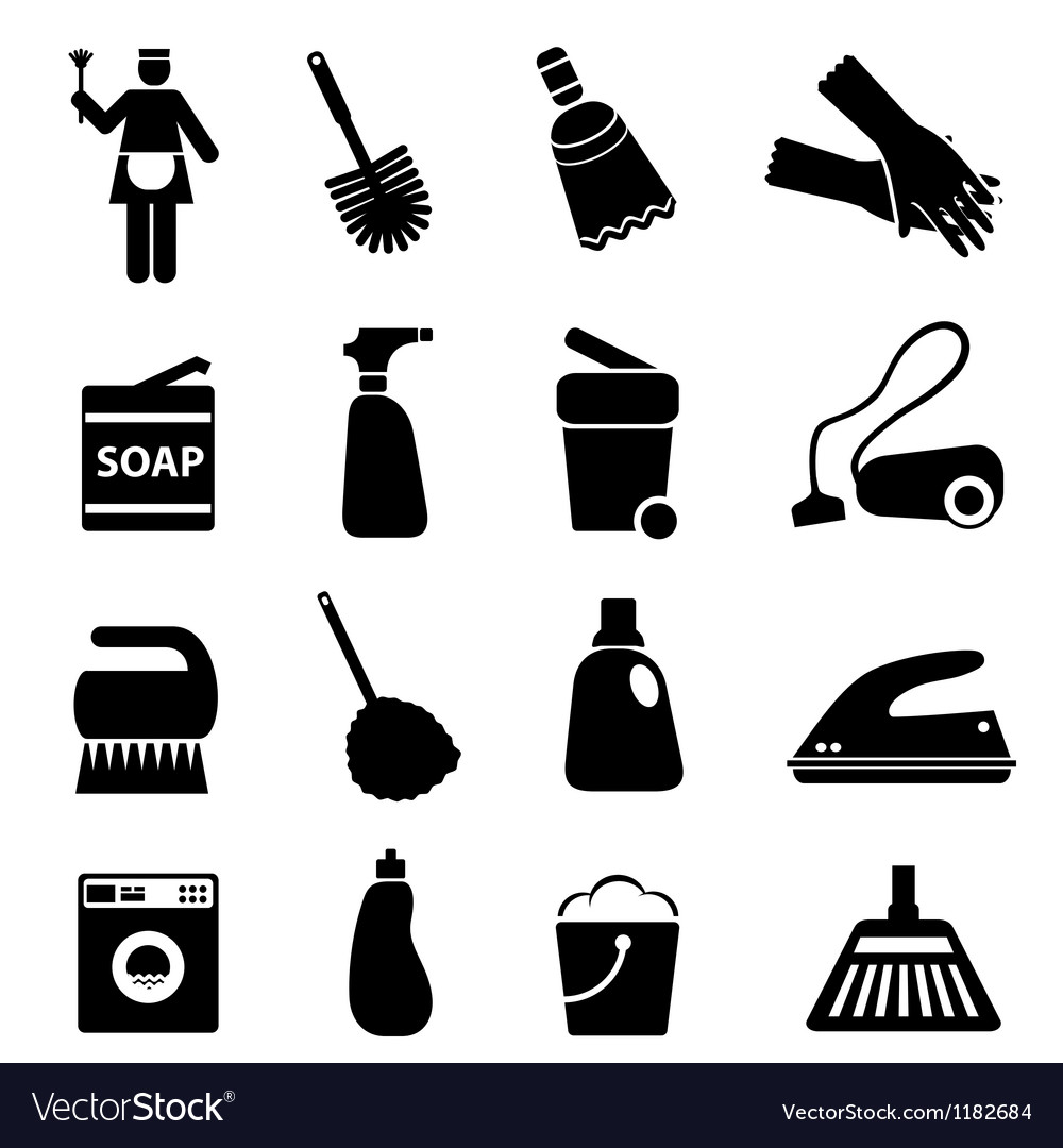 Silhouette of cleaning vector
