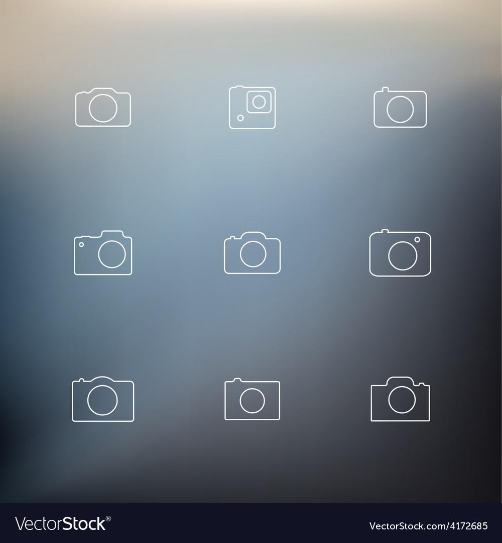 Contour icons cameras vector