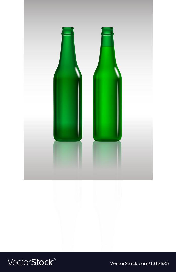Full and empty green beer bottles vector