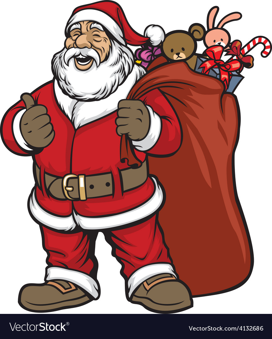 Santa claus bring a bag full of gift vector
