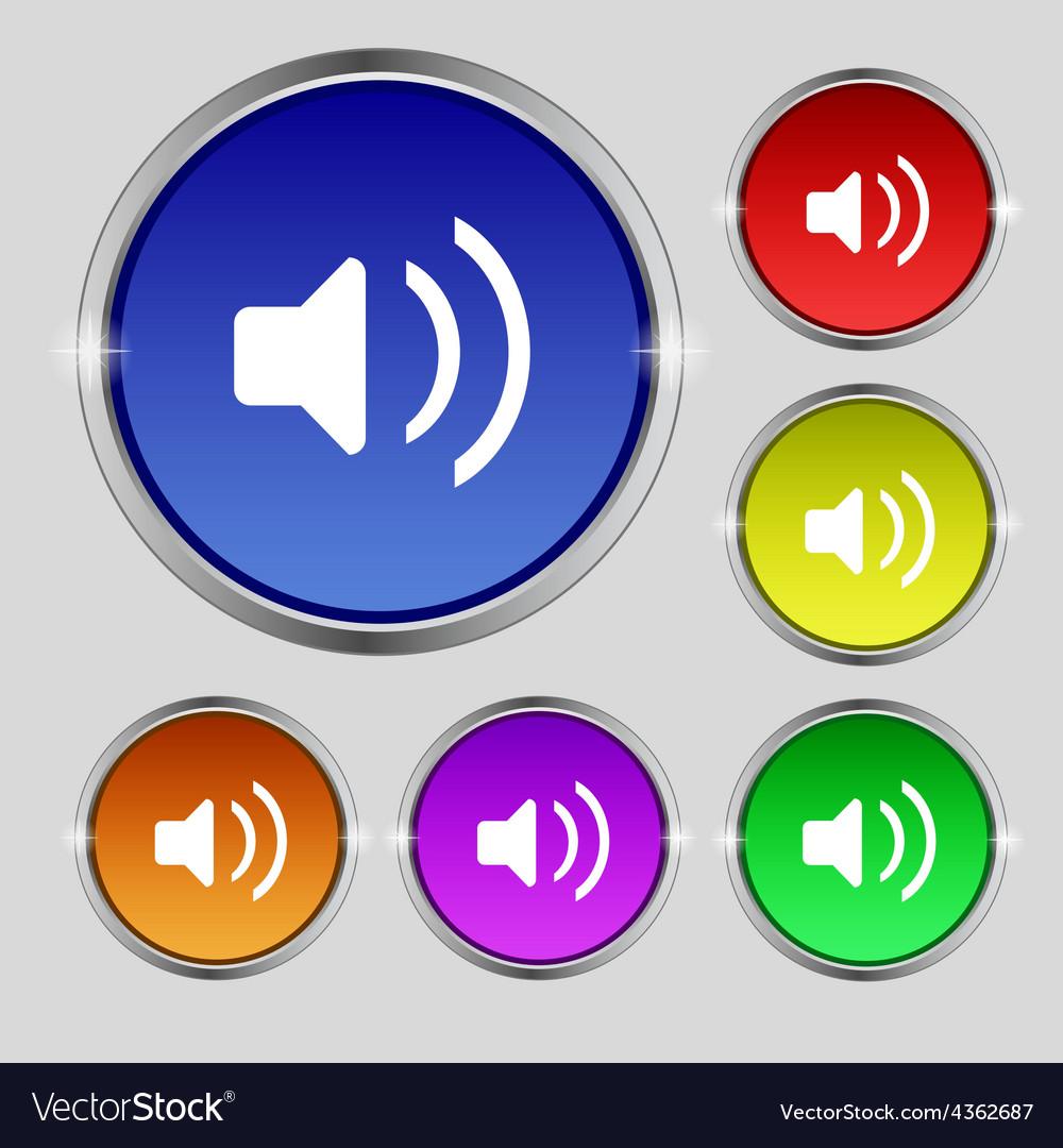 Speaker volume sound icon sign round symbol on vector