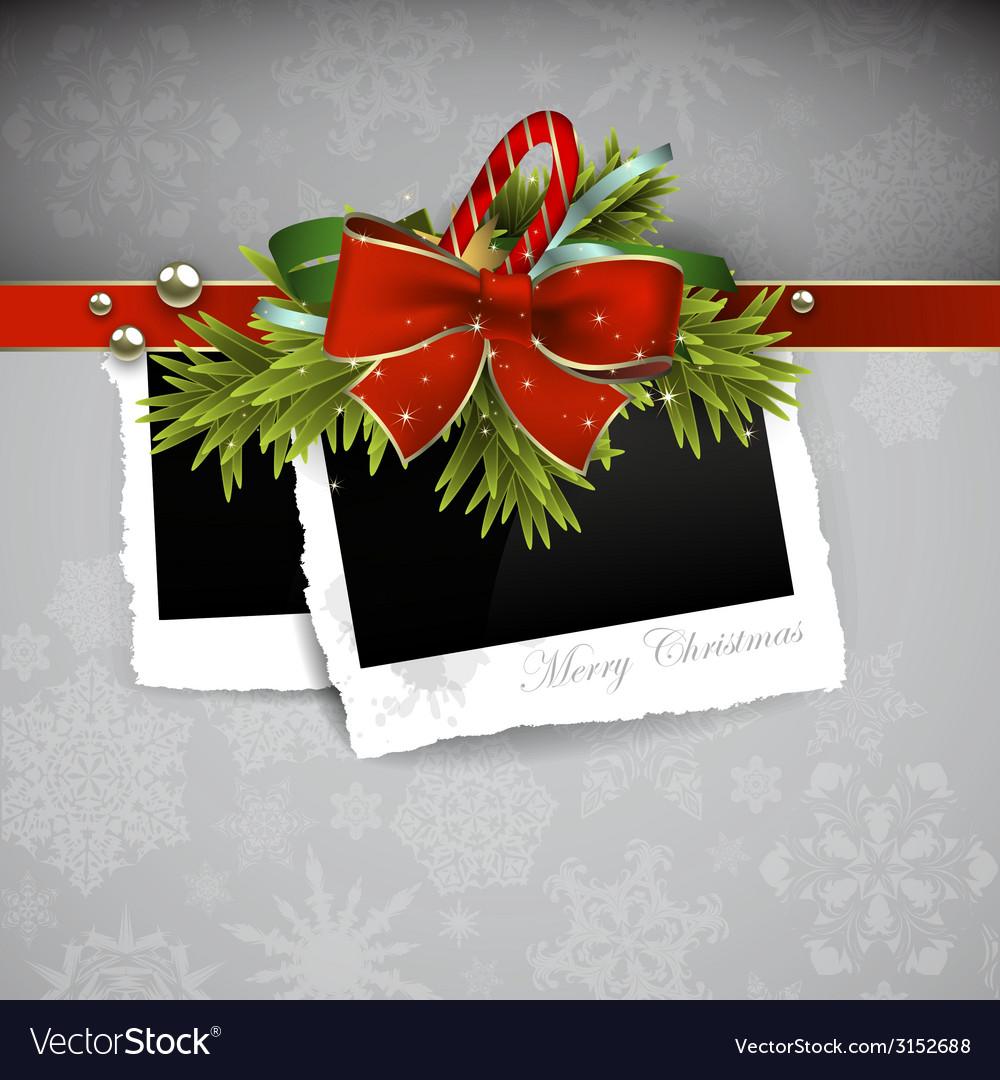Christmas design with photos vector