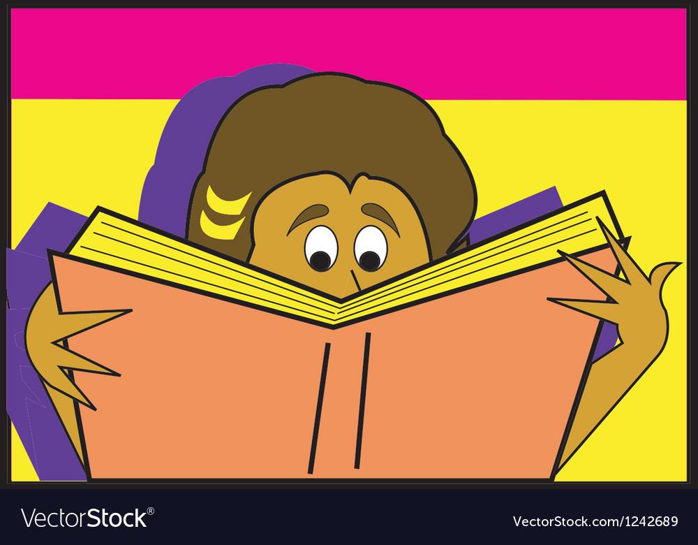 Person reading book vector