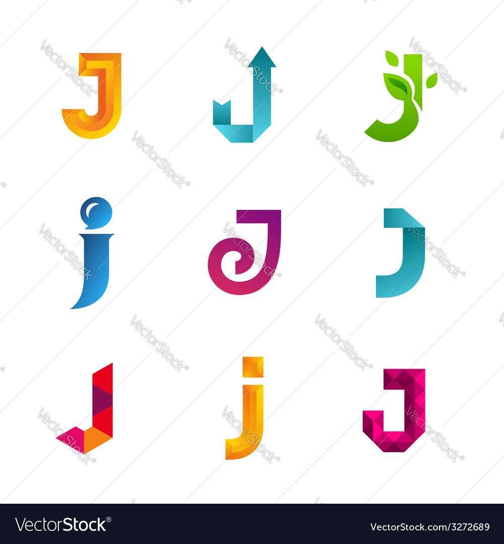 Set of letter j logo icons design template vector