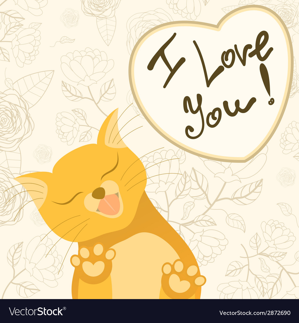 Cute romantic card with tender cat who licks the vector