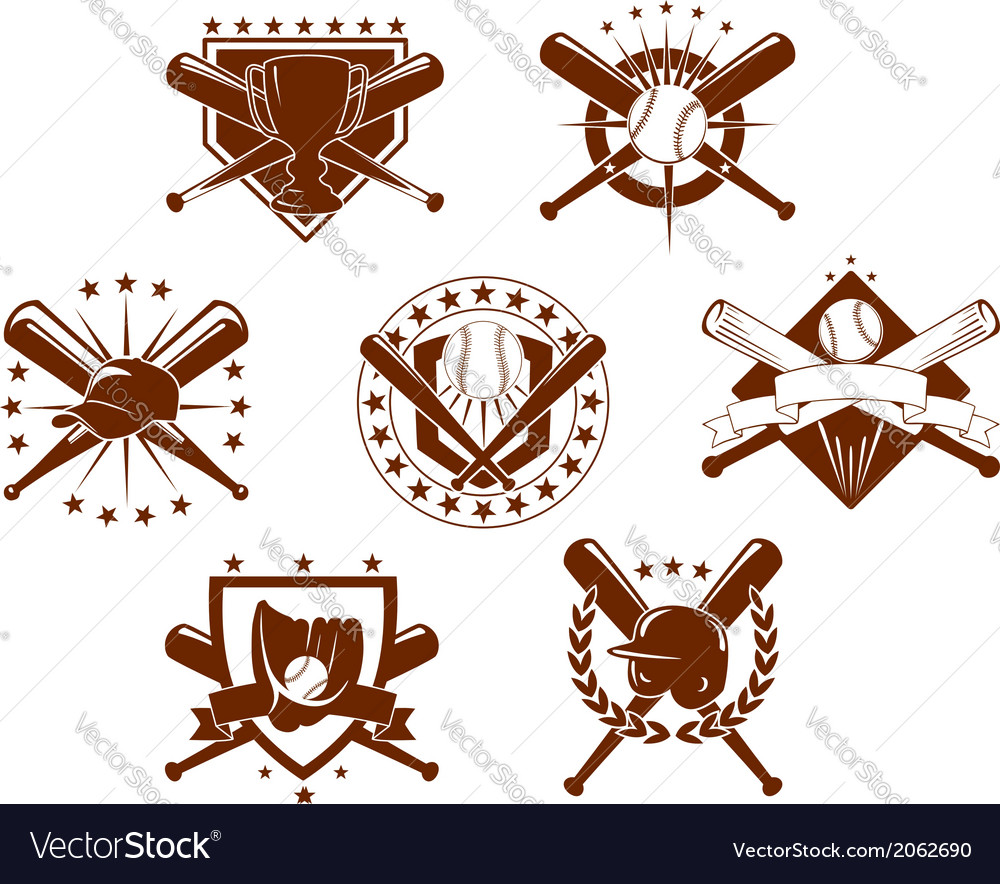 Set of baseball emblems vector
