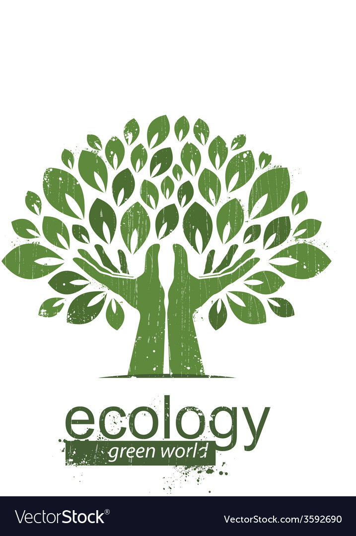 Tree and hands logo icon vector