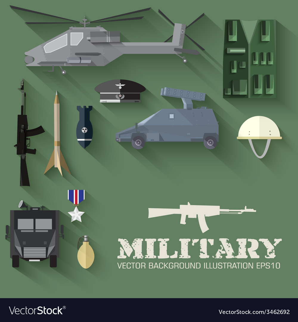 Army concept of military equipment flat icons vector