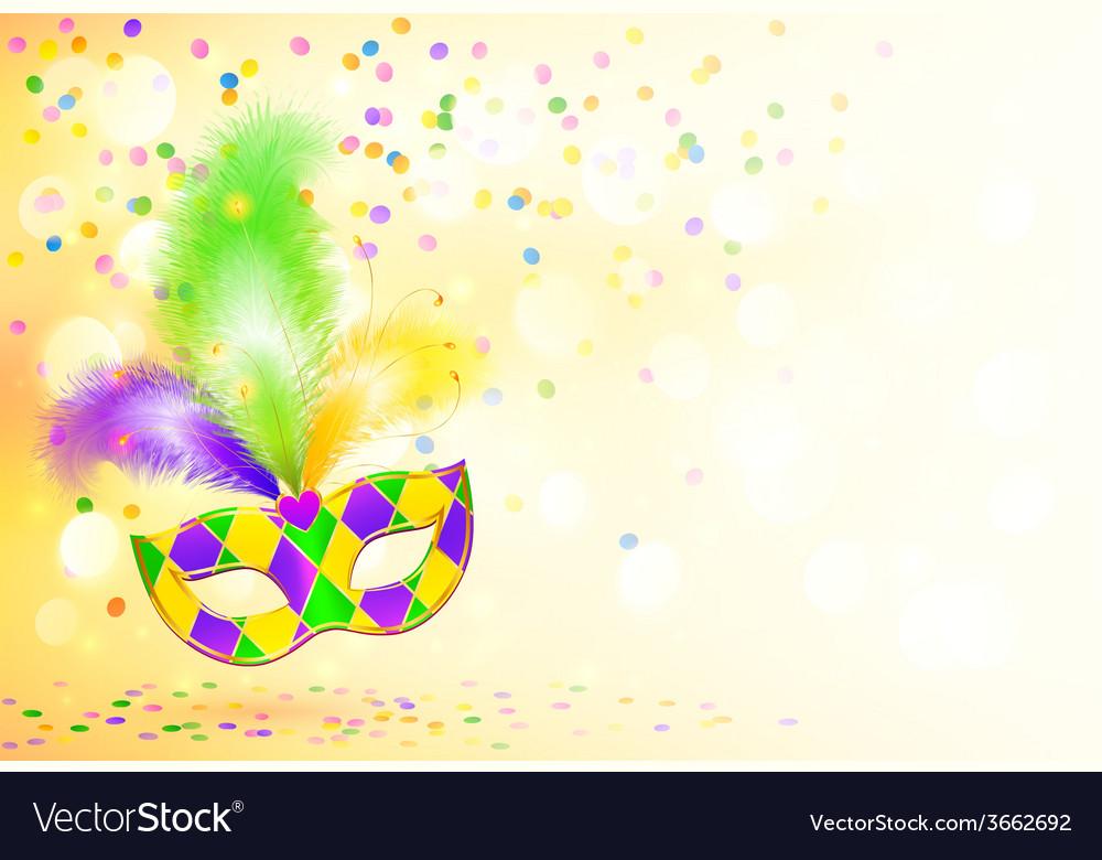 Bright mardi gras carnival mask poster background vector