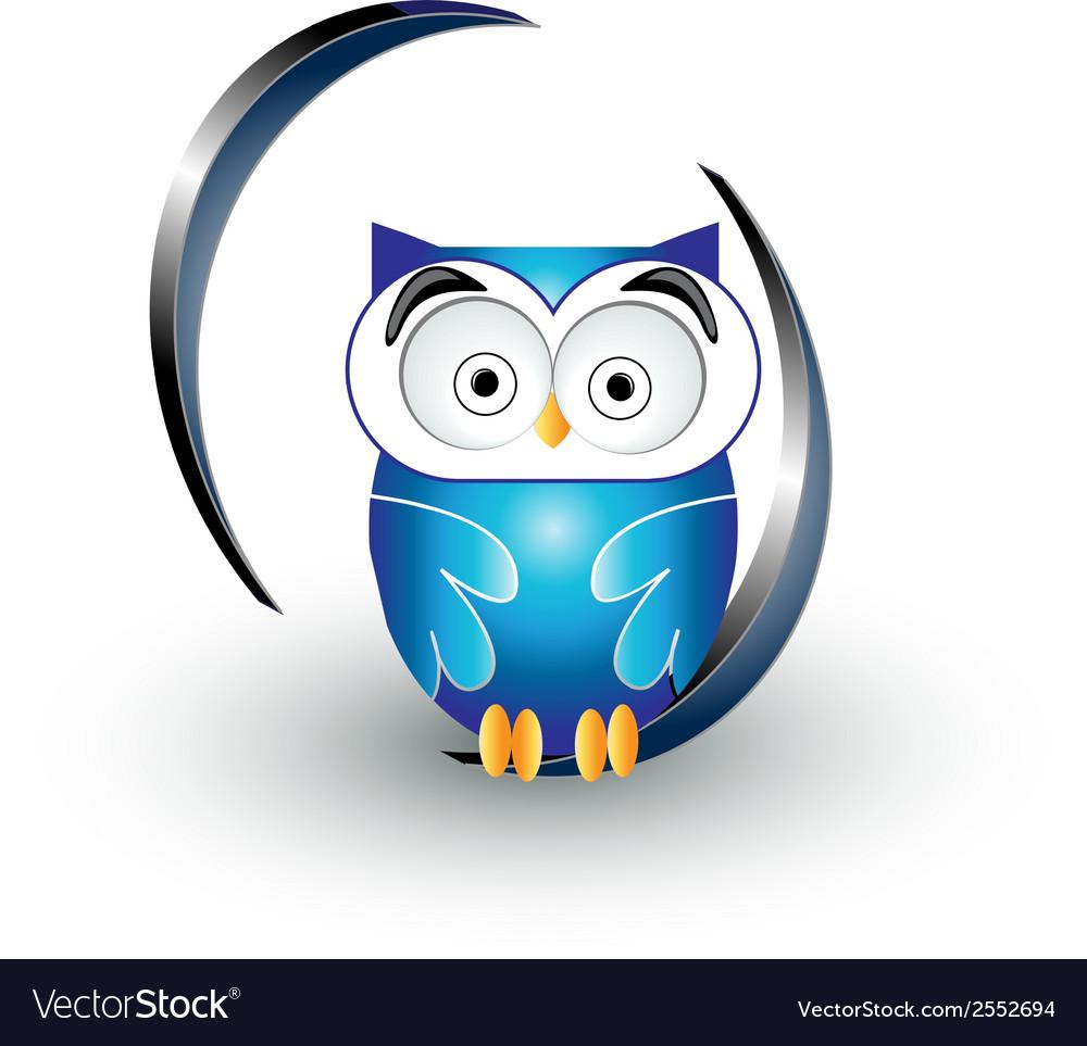 Cute blue owl vector