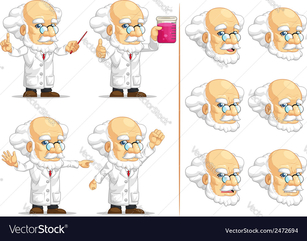 Scientist or professor customizable mascot 11 vector