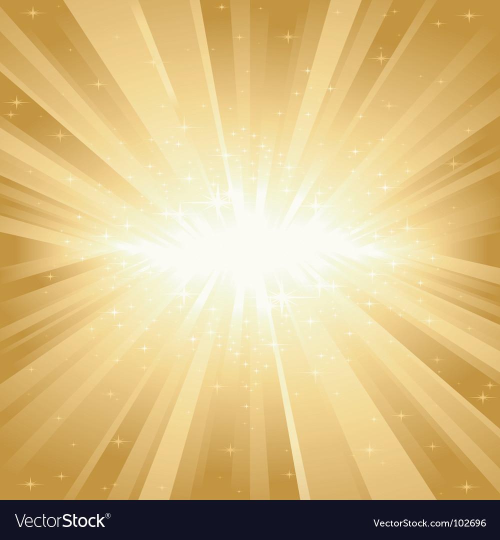 Golden light burst with stars vector