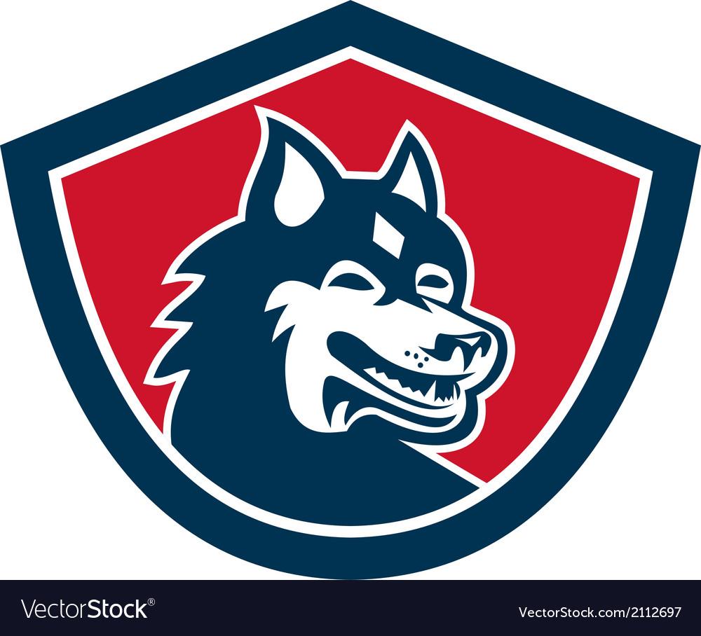 Siberian husky dog head shield retro vector