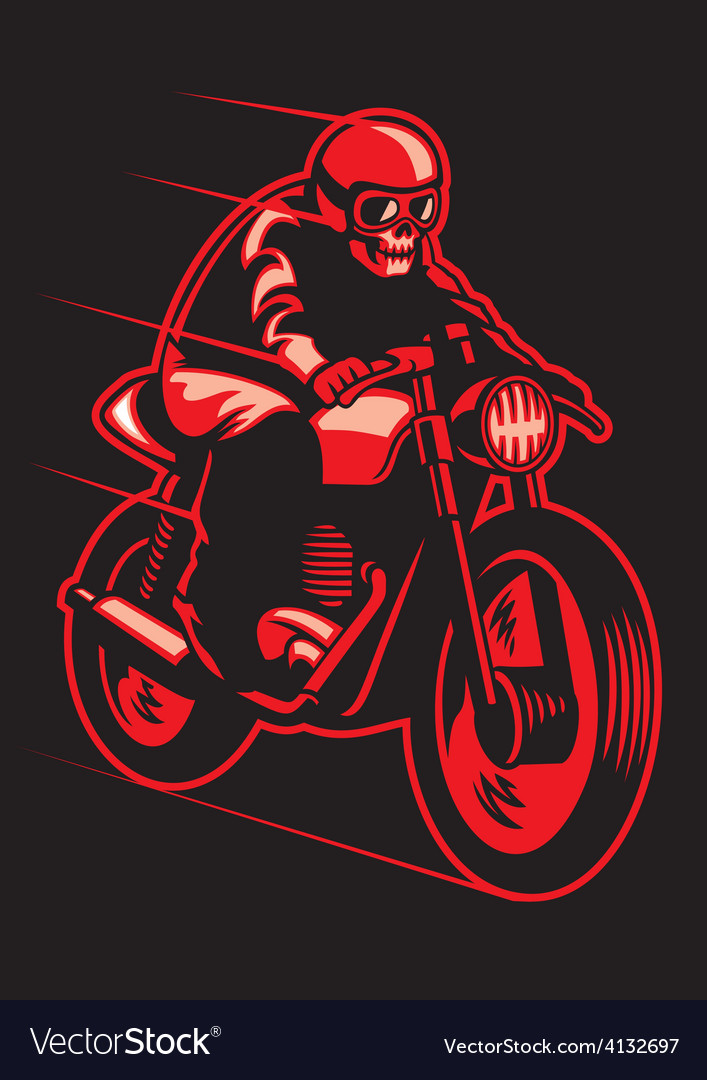 Skull ride a vintage motorcycle vector