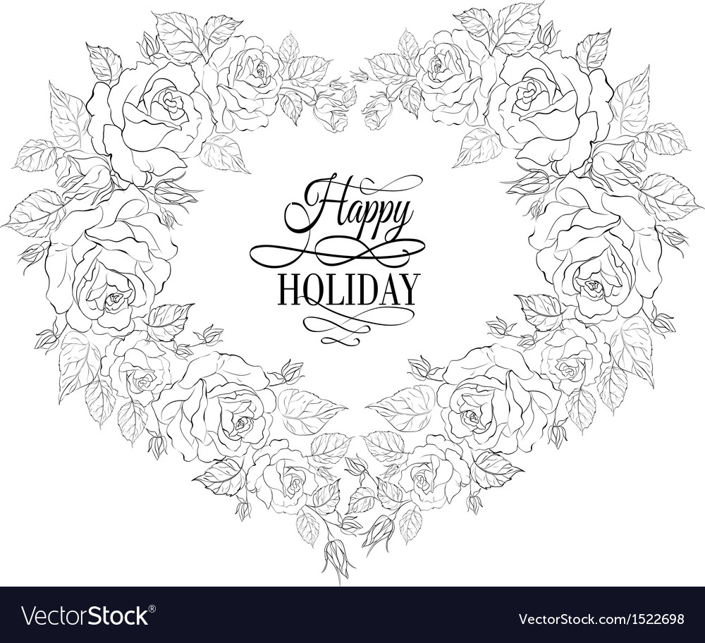 Isolation vintage frame from flowers roses vector