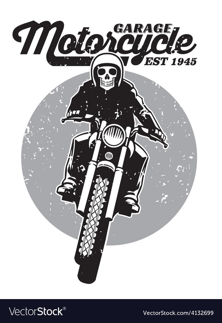 Skull riding a motorcycle vector