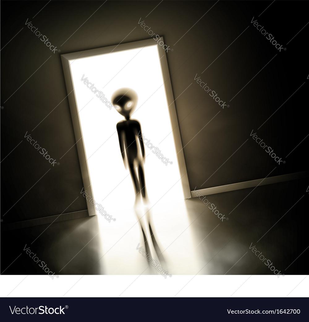 Alien at door vector