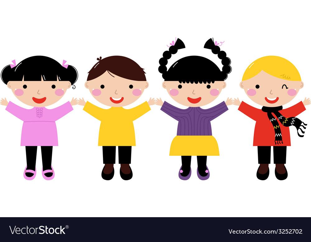Cute school kids in row holding hands vector