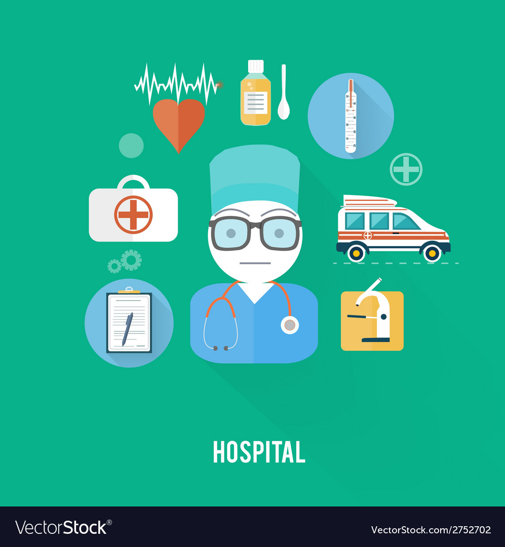 Hospital concept with item icons vector