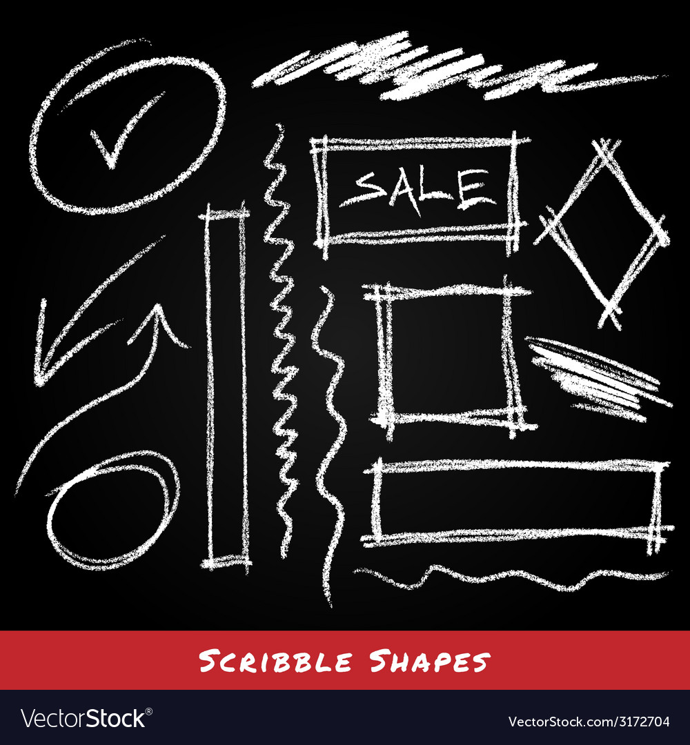 Scribble shapes hand drawn in chalk on chalkboard vector