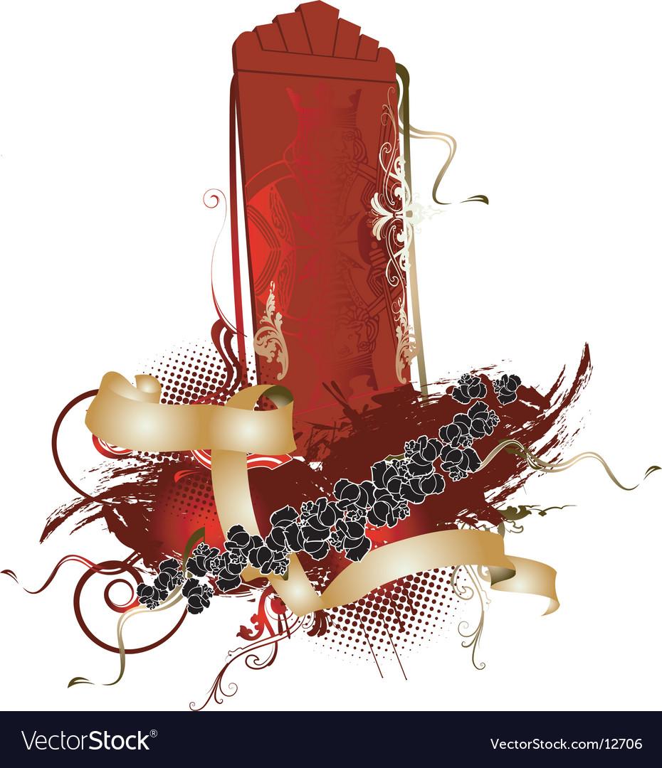 3d vertical red king banner vector