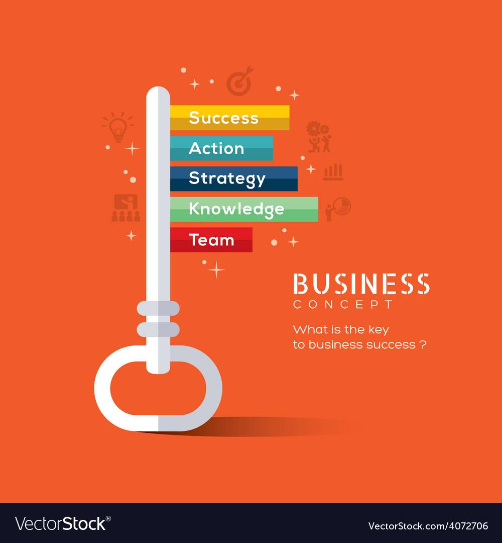 Key to success flat design concept vector