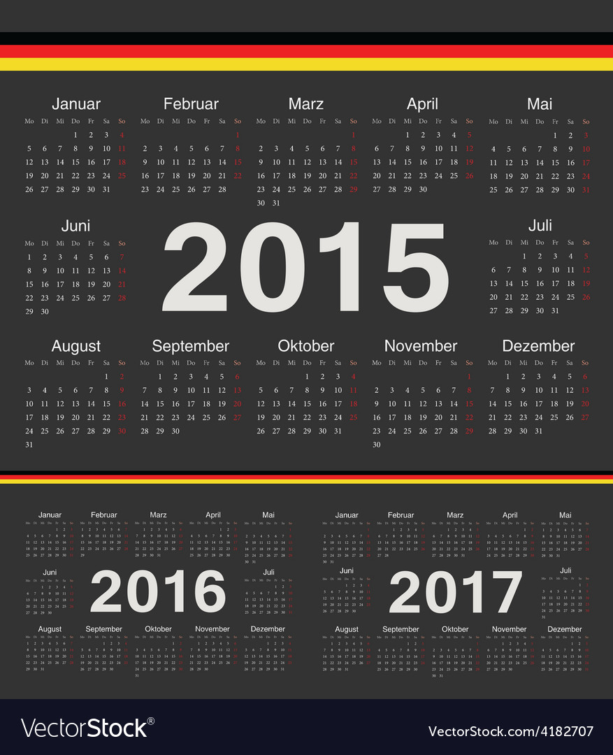 Black german circle calendars 2015 2016 2017 vector