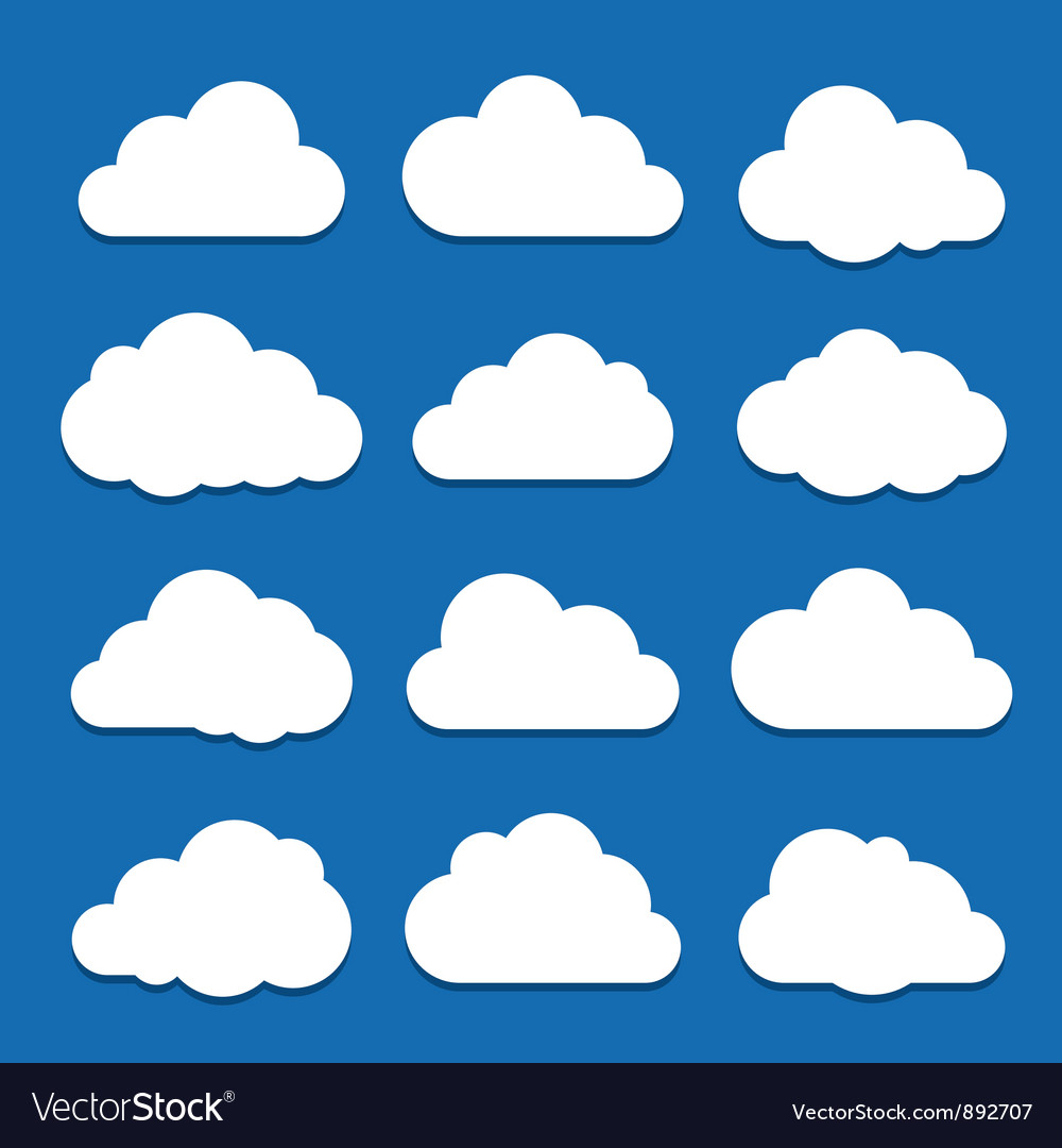 White clouds on blue sky vector