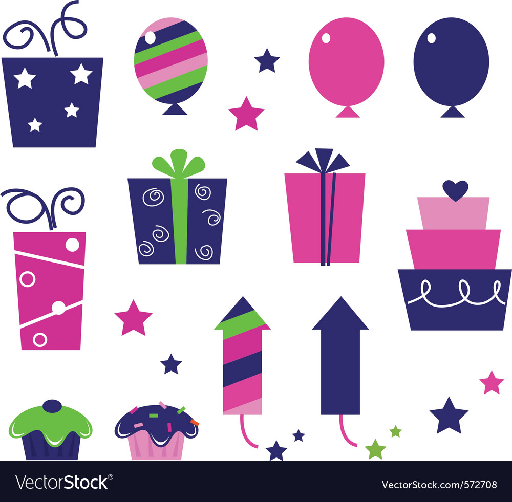 Birthday party icons isolated on white vector