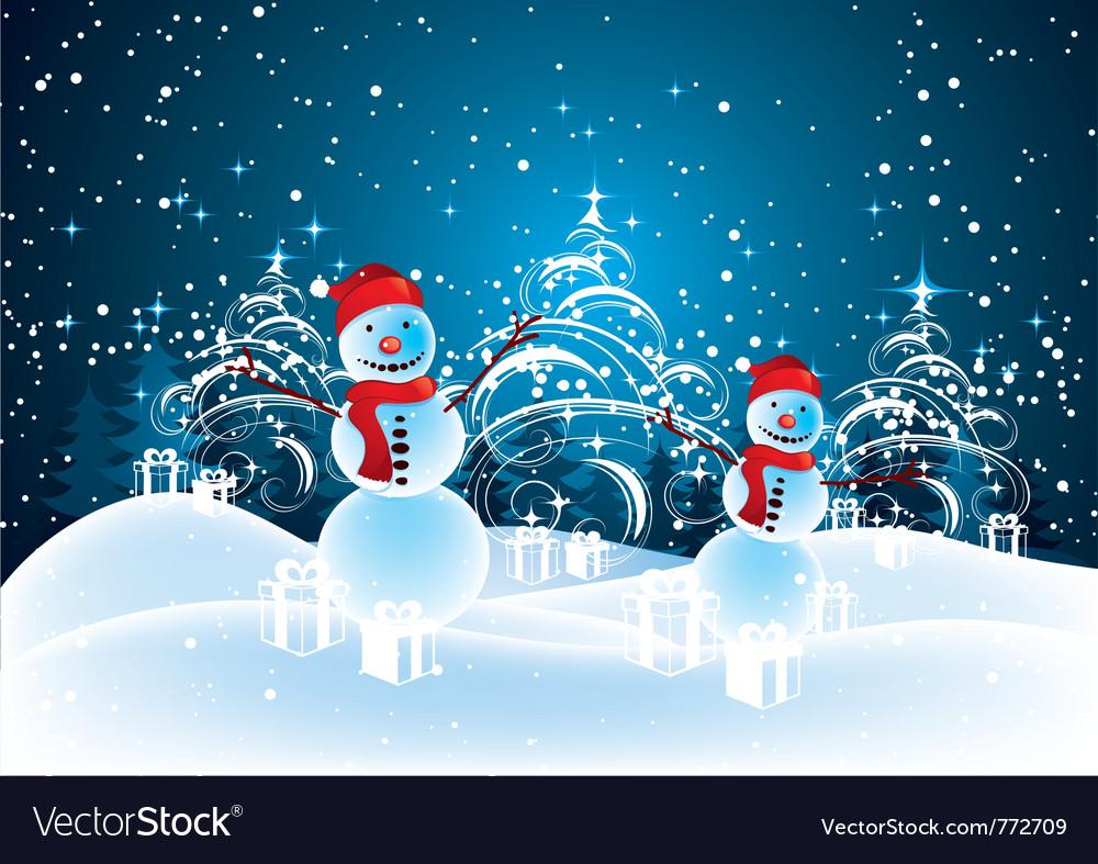 Snowmen in christmas landscape vector