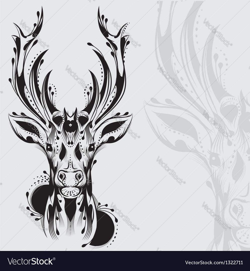 Tribal deer head tattoo vector